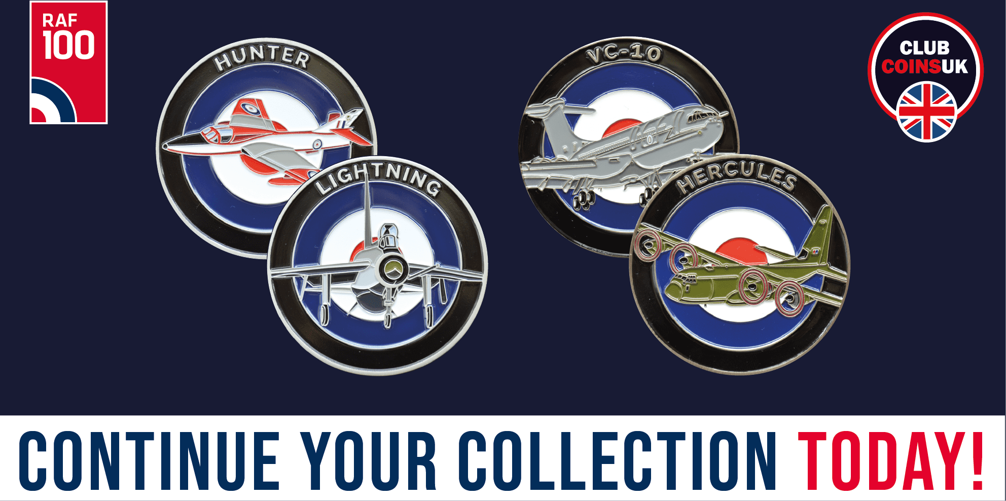 RAF100 Series- Club Coins UK - C130 Hercules - VC10 - Lightning - Hunter